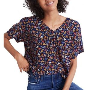 Madewell Floral Rhyme Garden Party Blouse Keyhole